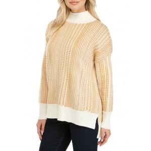 New Directions® Women's Drop Shoulder Space Dye Turtleneck Sweater