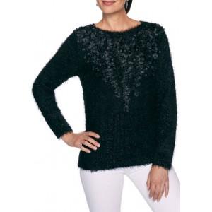 Ruby Rd Women's Sweater Program Embellished Cozy Metallic Sweater