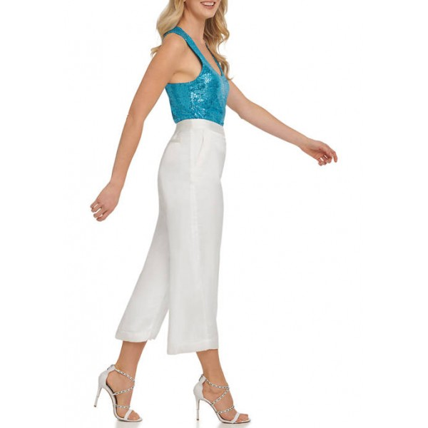 DKNY Washer Satin Cropped Wide Leg Pants