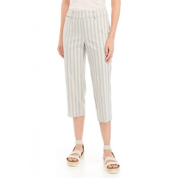 Sharagano Women's Linen Stripe Capri Pants